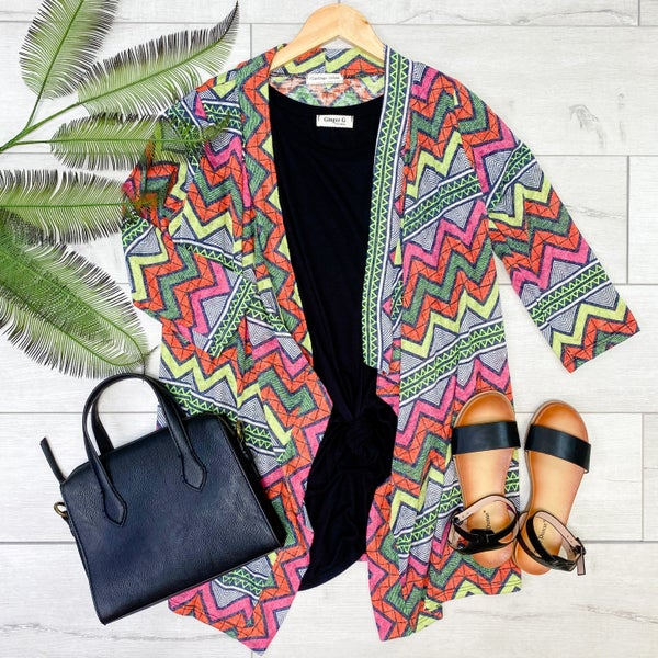 Aztec Patterned Knit Cardigan, Multi Color