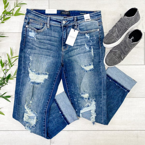 *JUDY BLUE* Mid-rise Beach Splash Boyfriend Jean, DARK WASH