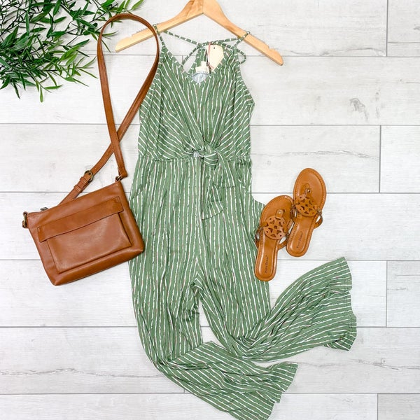 Strappy Striped Jumpsuit, Olive