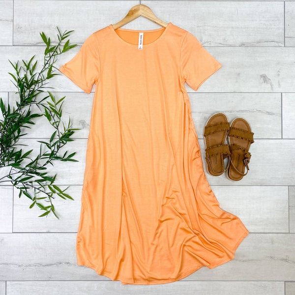 Solid Round Neck Midi, Peach