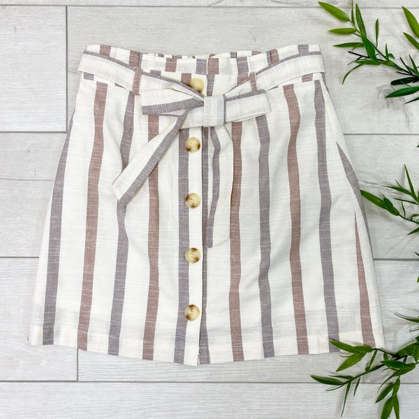 Striped Button Down Tie Waist Skirt, Khaki