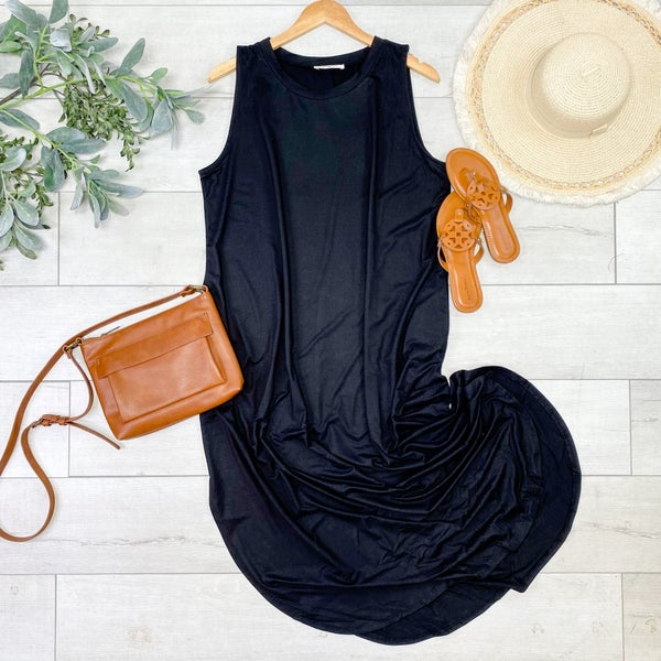 Solid Sleeveless Midi, Black