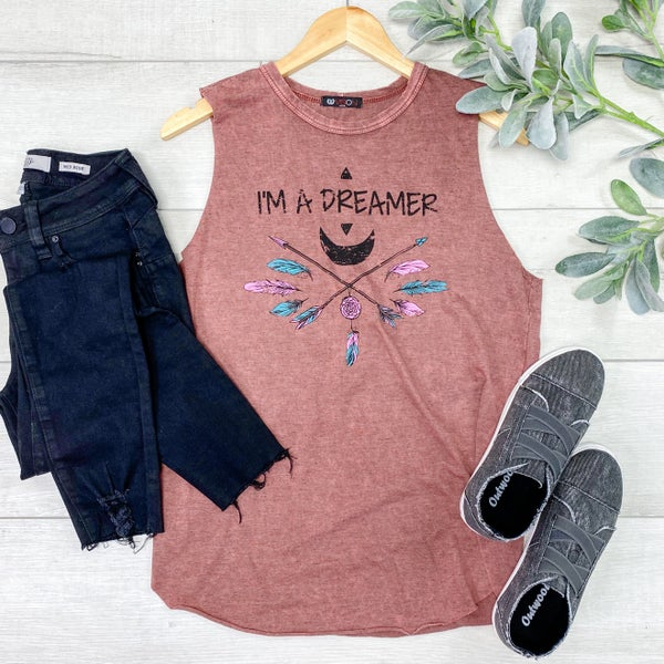 Sleeveless Dreamer Graphic Top, Mauve