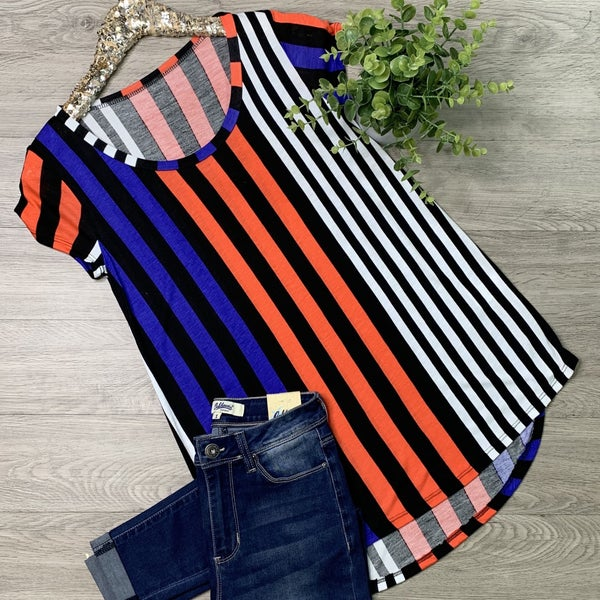 Striped Round Hem Tunic Top, Primary Multi Color *Final Sale*