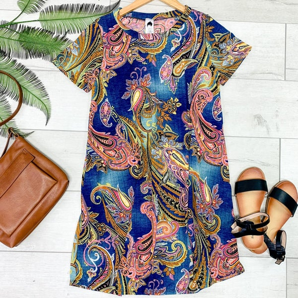 Paisley Patterned Swing Dress, Navy