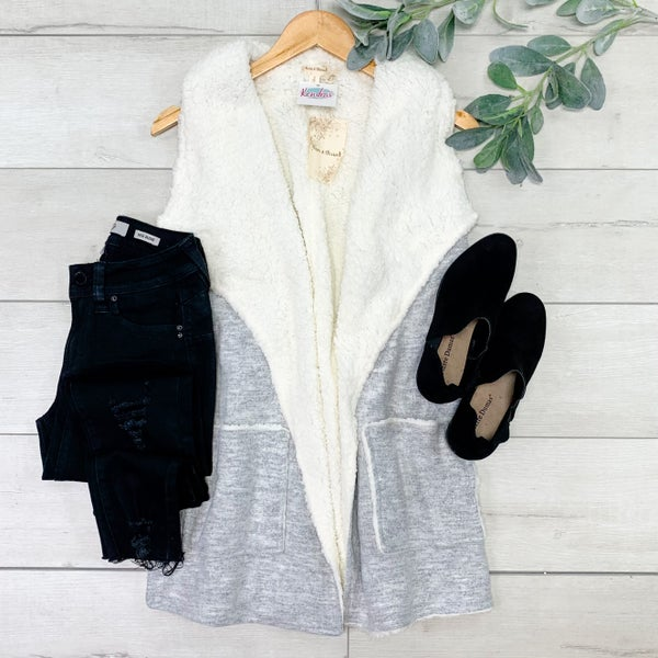*Kendra's Collection* Sherpa Lined Open Vest, Grey *Final Sale*