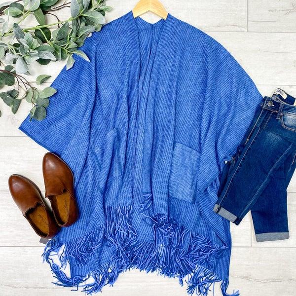 Rib Knit Fringe Kimono, Blue