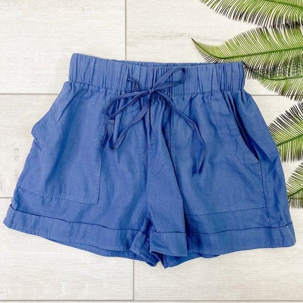 Utility Paper Bag Shorts, Smoke Blue