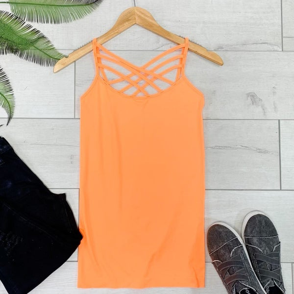 Criss Cross Neck Cami, Bright Orange