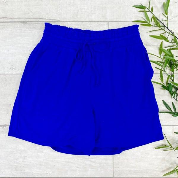 Drawstring Waist Paperbag Shorts,  Bright Blue