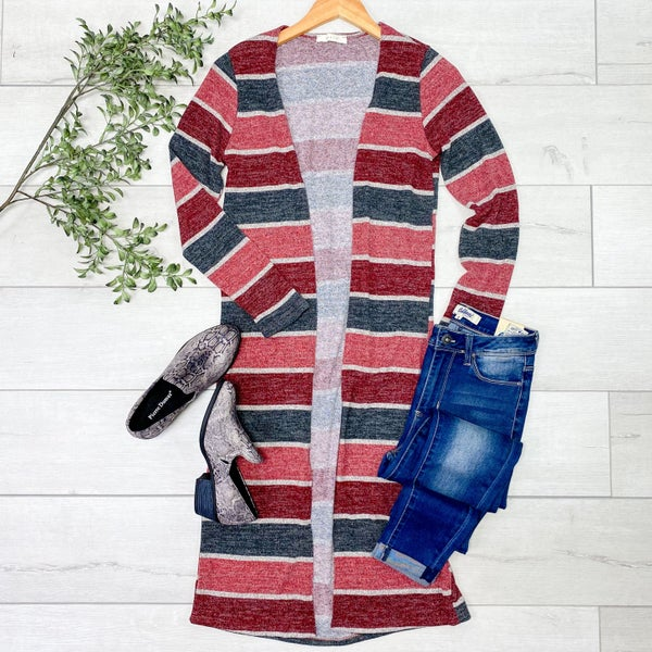 Long Striped Cardigan, Burgundy