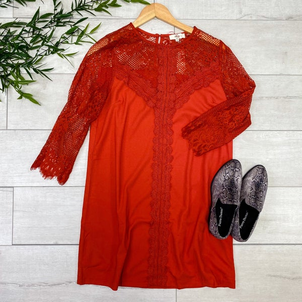 Lace Top Dress, Rust