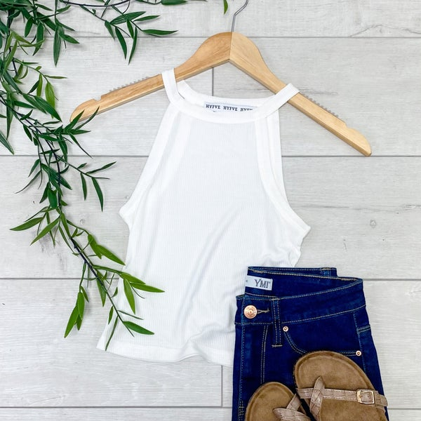 Ribbed halter Neck Top, Off White