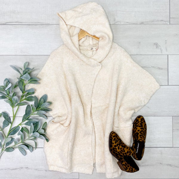 Button Poncho Style Cardigan, Natural