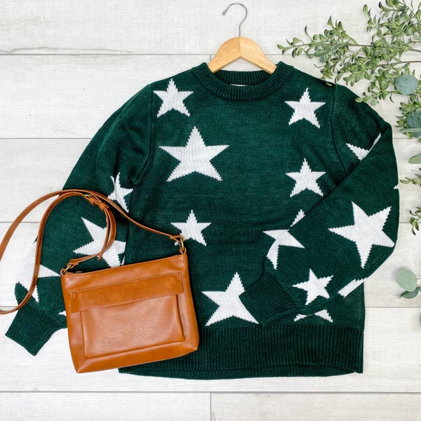 Star Pattern Round Neck Sweater, Hunter Green [[$20--LIVE]]