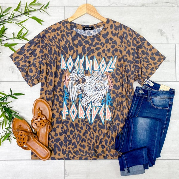 *Kendra's Collection* Rock-N-Roll Forever Graphic Tee, Brown