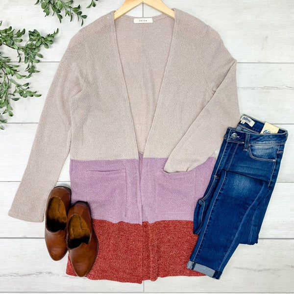 Color Block Knit Cardigan, Taupe