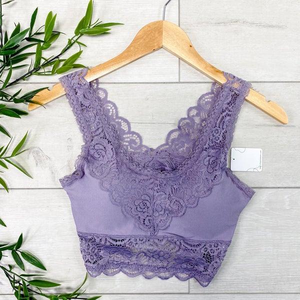 Padded Lace Bralette, Purple Ash