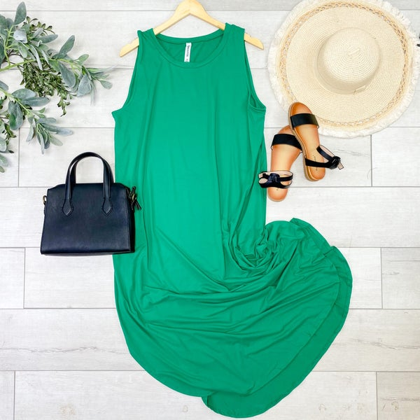 Solid Sleeveless Midi, Kelly Green