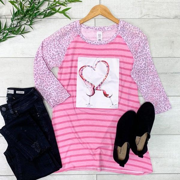 Contrast Striped & Leopard Print Top, Pink