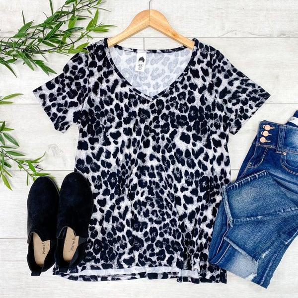 Leopard Patterned V-Neck, Black