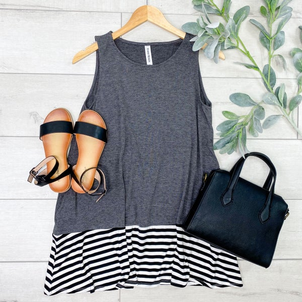 Sleeveless Striped Bottom Tunic, Charcoal [[LIVE]]
