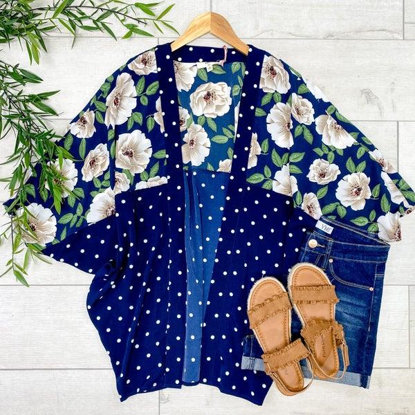 Contrast Floral and Polka Dot Kimono, Navy