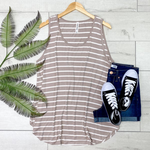 *PLUS* Striped Sleeveless Top, Ash Mocha [[LIVE]]
