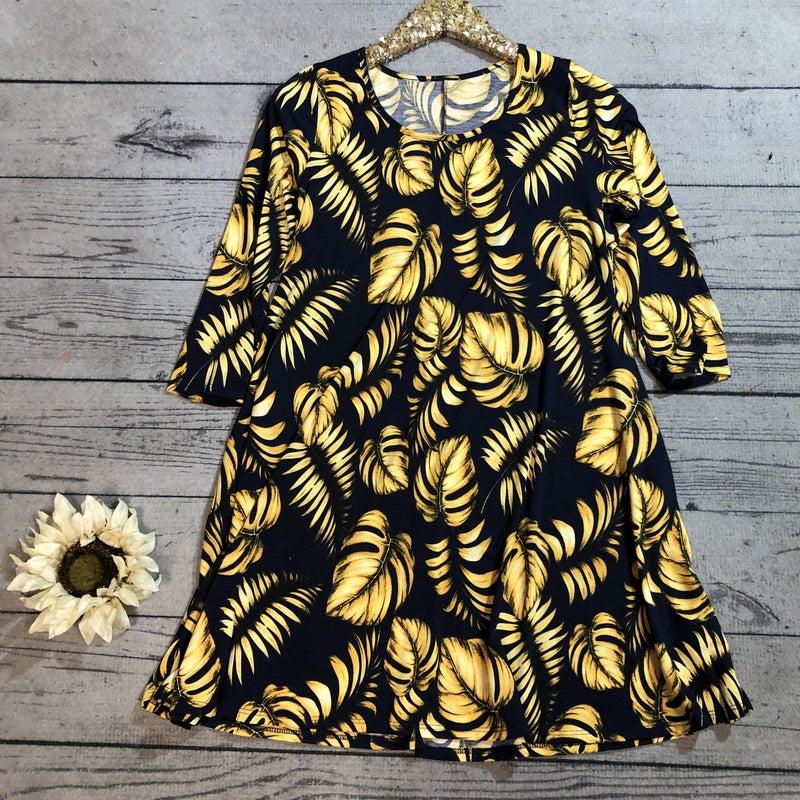 Palm Leaf Dress, Navy (N) *LAST CALL - $5* [FINAL SALE]