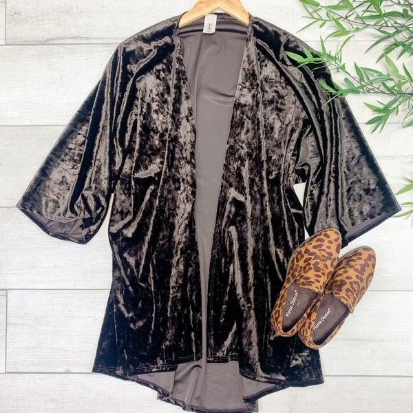 *PLUS* Velour Kimono, Dark Brown