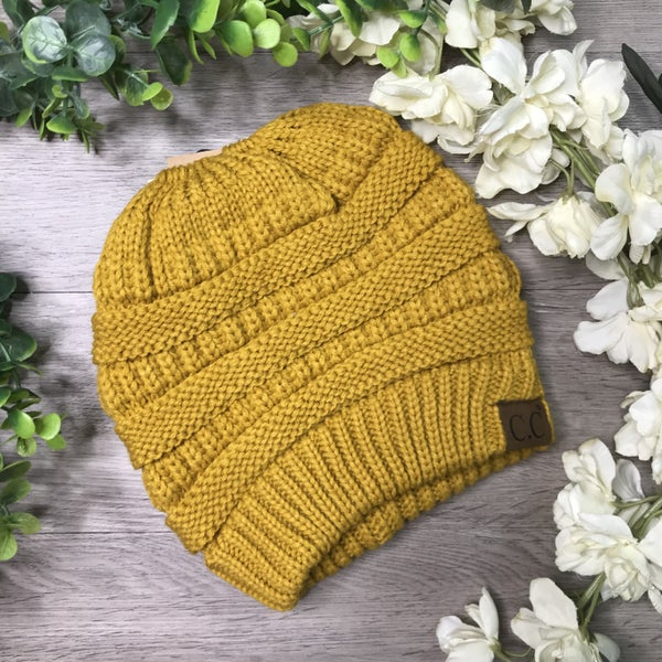 "CC  ""Messy Bun"" PonyTail Beanie, Mustard *$5* [FINAL SALE]"