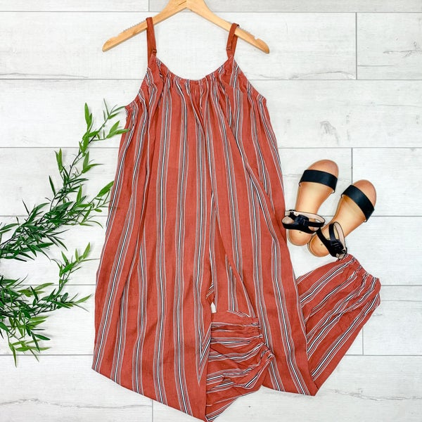 Strappy Striped Jumpsuit, Rust