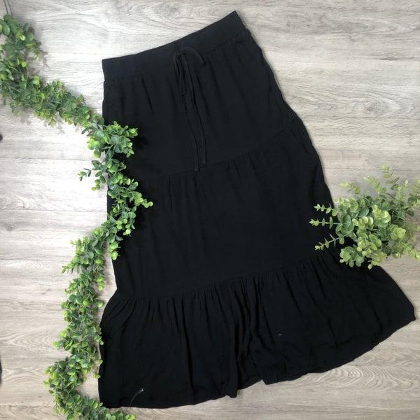 Tiered Midi Skirt- Black