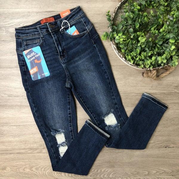 High Rise Distressed Skinny Jean, Dark