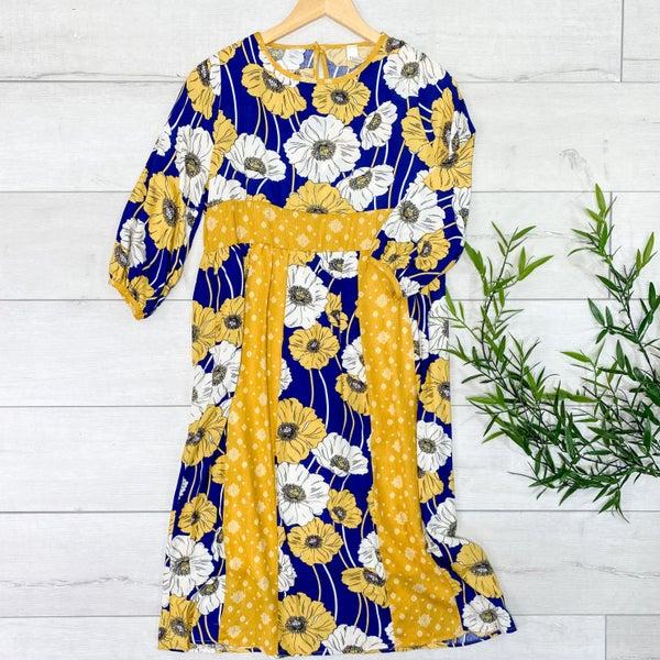 Floral Babydoll Midi Dress, Navy