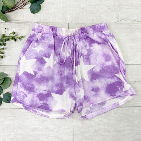 *Kendra's Collection* Star Print Tie Dye Shorts, Purple