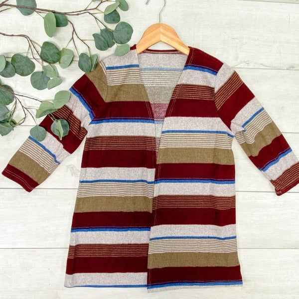 Striped 3/4 Sleeve Cardigan, Burgundy/Tan *Final Sale*