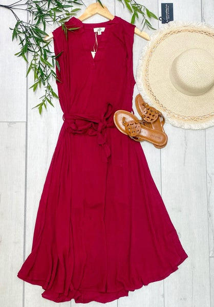 Sleeveless V-Neck Tie Waist Dress, Burgundy