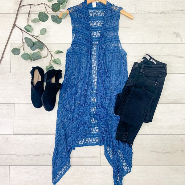 Lace Vest, Blue *Final Sale*