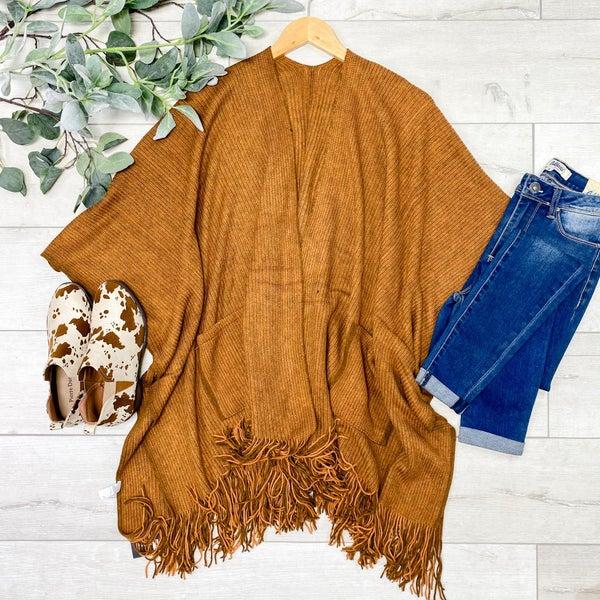 Rib Knit Fringe Kimono, Camel