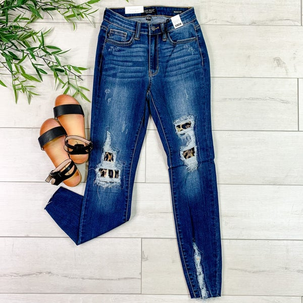 *JUDY BLUE*  High Waist Leopard Patch Skinny Jean, Dark