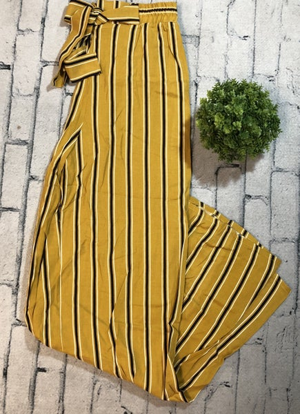 Striped Pants w/Tie Waist, Mustard (N)