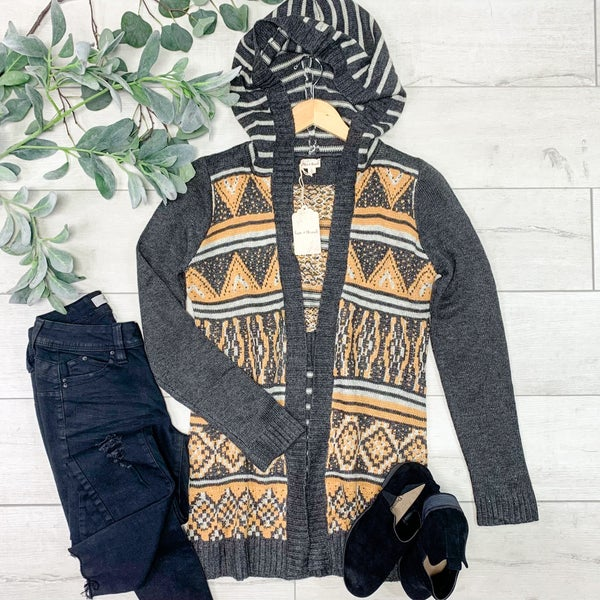 Contrast Patterned and Striped Hooded Cardigan, Charcoal