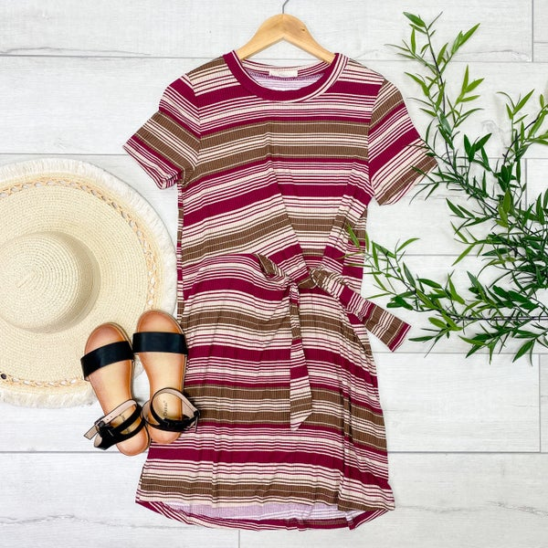 Ribbed Striped Front Knot Dress, Rasberry
