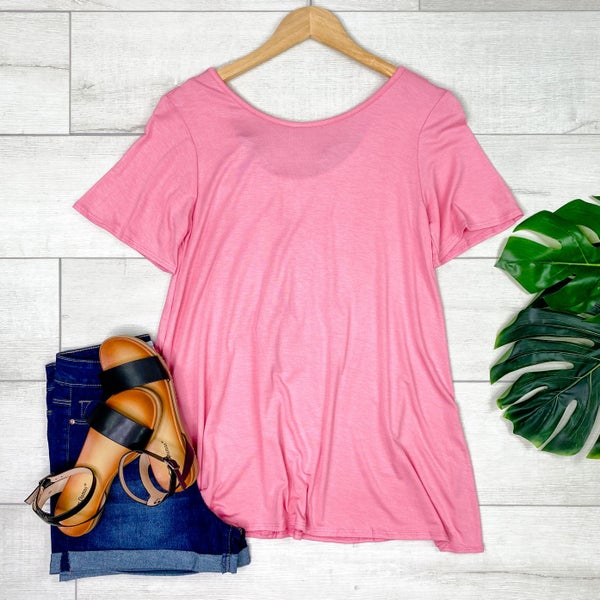 Solid Tunic Top w/Animal Print Accent Back, PInk