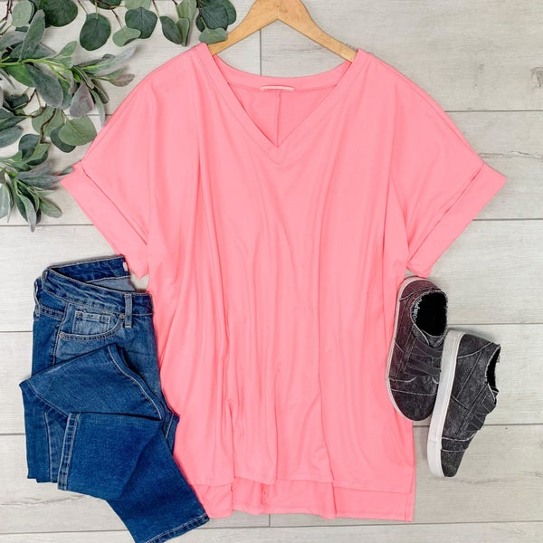 *PLUS* Solid Rolled Sleeve V-Neck, Bright Pink