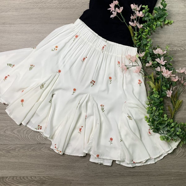 *Kendra's Collection* Floral Print Skirt, White