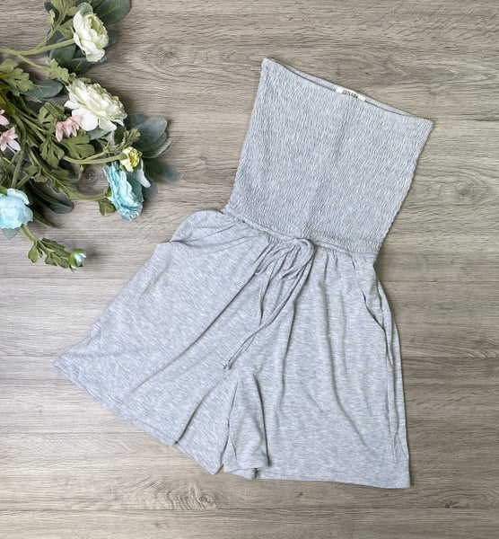Smocked Tube Top Romper, Heather Gray *Final Sale*