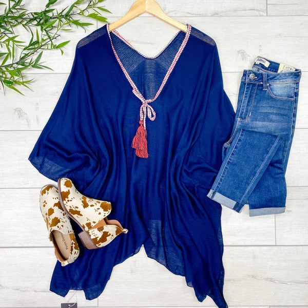 Rope Tassel Poncho, Navy *Final Sale*
