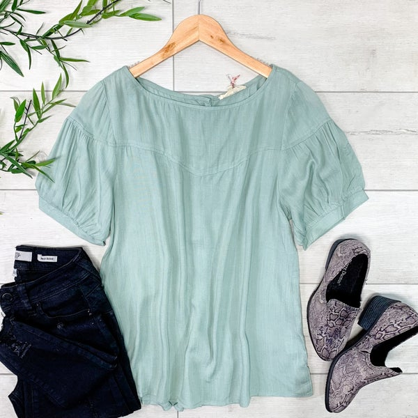 Solid Button Back Top, Sage